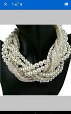 CHUNKY PEARL TWISTED STATMENT NECKLACE NEW
