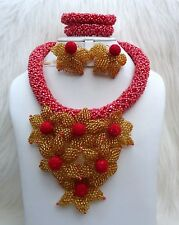 Coral Gold Red Flower Petal Elegant Party Wedding Bridal Necklace Jewellery Set