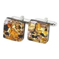 GlassOfVenice Murano Glass Venetian Classic Square Cufflinks - Topaz Gold