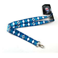 NFL Miami Dolphins Argyle Lanyard Clip Keychain Key Ring Badge Ticket Holder
