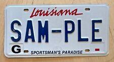 "LOUISIANA SPORTSMAN'S PARADISE SAMPLE  PASSENGER LICENSE PLATE "" SAM PLE ""  LA"