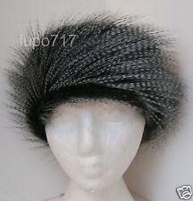 BLACK WHITE 2 LAYERS FLUFFY FAUX FUR HEADBAND HAT SKI EAR WARMER MUFFS NEW 61CM