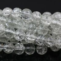 Hot Glass Mixed Round Crackle Crystal Charms Beads Jewelry Making 4/6/8/10/12mm