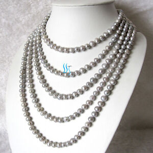 """100"""" 6-8mm Silver Gray Freshwater Pearl Long Necklace UE"""
