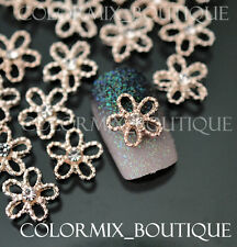 10pcs 3D Nail Art Décoration Gold Flower Alloy Jewelry Glitter Rhinestone #CA038