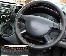 Para Vw Transporter T5 2003-2009 Cuero Negro cubierta del volante Rojo Costura