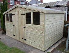 GARDEN SHED TANALISED ULTIMATE HEAVY DUTY 12X10 REVERSE APEX 22MM T&G.  3X2.