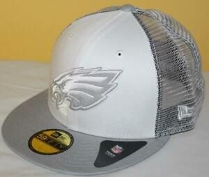 NWT 59Fifty New Era Fitted Hat Cap Philadelphia Eagles Mesh Back NFL Cloud *T8