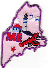 """ME"" - MAINE STATE SHAPE - Iron On Embroidered Applique Patch/New England"