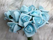 12 colore Blu Pallido Schiuma qualità Rose Bud 4cm HEAD Matrimonio Decorazione Tavola Fiori