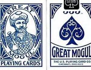 GREAT MOGUL [BEE SECONDS] POKER PLAYING CARDS DECK STANDARD INDEX BLUE.