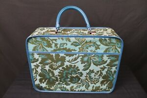VTG 1960s Tapestry Train Case Avon Lady Sample Suitcase Over Night Bag