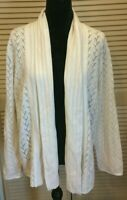 SUSAN GRAVER sz M Ivory Pointelle Chevron Shimmer Knit Open Cardigan Sweater NWT