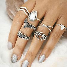 Bohemian Ethnic Nature Gem stone Vintage Gold Silver Carved Flower Finger Rings