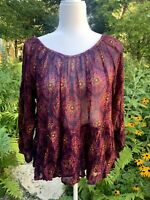 NEW Natural Life Boho Maroon Long-Sleeved Sheer Floral Tunic / Blouse One Size