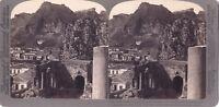 Théâtre Greco Da Taormina Sicilia Italia Foto Stereo Vintage Analogica
