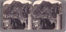 Théâtre grec de Taormina Sicile Italie Photo Stereo Vintage Argentique