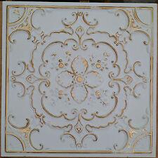 PL19 Faux tin 3D antique white gold ceiling tiles decor wall panels 10tiles/lot