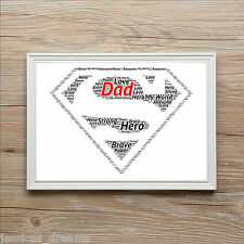 FATHERS DAY Superman Superhero Birthday Personalised Word Art Print Gift Dad