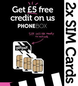 2 x Giffgaff Nano/Micro/Standard 3 in 1 SIM with £5 Credit - Fits all phones