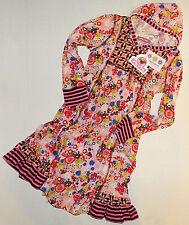 Girl's Hoodie Dress Jelly the Pug Sz 10 Pink & Brown Boho Flowers Stripes Soft