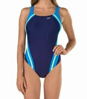 Speedo Womens Swimwear Blue Size 6 PowerFlex Eco Quantum Splice Swimsuit $78 283