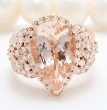 5.78 Carat Natural Peach MORGANITE and DIAMOND in 14K Solid Rose Gold Women Ring