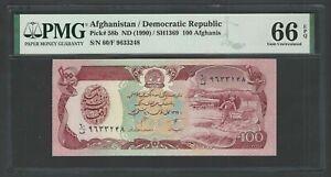 Afghanistan 100 Afghanis ND(1990)/SH1369 P58b Uncirculated Grade 66