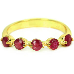 GENUINE AAA PINK RED RUBY ROUND STERLING 925 SILVER ETERNITY RING SIZE 6.5