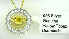 GENUINE YELLOW TOPAZ & DIAMOND PENDANT .925 Sterling Silver * New With Tag *