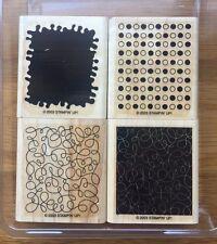 2003 STAMPIN UP Stamp Set BY DESIGN Swirls Circles Dots 4 Wood Mounted RETIRED
