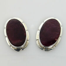 Unique Natural Modern Purple Spiny Oyster Sterling Silver Post Earrings