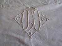 ancien drap monogrammé OC 175*260 cm