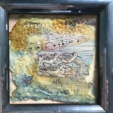 Framed Collage Mixed Media Watercolor Art Sandpipers Music Signed Lily Harmon?