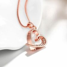 ROSE GOLD PLATED LOVE HEART NECKLACE WITH CRYSTALS IN VELVET GIFT BAG