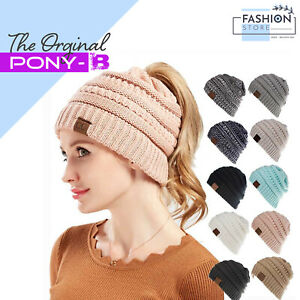Womens Ladies Warm Knitted Ponytail Beanie Hat Pony Hat Black White Pink Grey UK