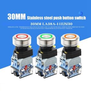 30mm Stainless steel Ring LED Push Button Illuminated Switch 2 NC Silver contact