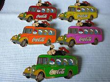 5 grandes coca cola Gargamel y los Pitufos en el autobús pins