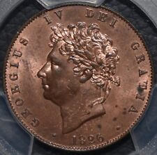 More details for 1826 half-penny, george iv. 1/2d pcgs ms63rb great britain uk