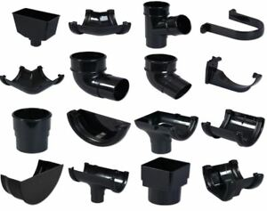 Black Round Floplast 112mm Gutter and 68mm Pipe Fittings Selection of Fittings