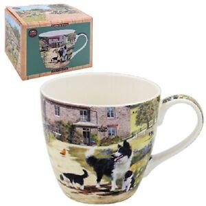 Border Collie & Sheep Breakfast Mug. Boxed Fine China Mug Leonardo Collection