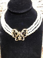 Triple Strand Pearl And Butterfly Necklace