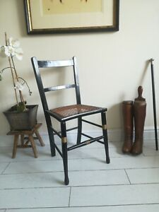 Ebonised Early Victorian Chair With Gold Detail Cane  Seat