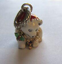 Brighton Polar Bear  Charm- Santa Hat- white green red -holiday/Christmas