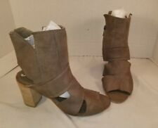 FREE PEOPLE EFFIE BLOCK HEEL TAUPE LEATHER ANKLE BOOTS WOMEN'S EUR 37 US 7