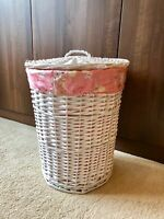 Large Round White Luxury Storage Laundry Wicker Rattan Basket Pink Lining