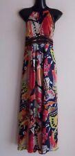 NEXT floral satin evening summer/bridesmaid/cruise/party Maxi Dress size UK 10