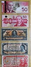 Five  Canadian  $50.00 Bills   1937  1954  1975  1988  2004