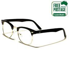 Classic Retro Glasses - Half Rimmed Frame / Clear Lens - Nerd - FREE POST AUS