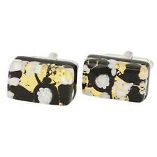 Rectangular Cufflinks - Black Gold GlassOfVenice Murano Glass Venetian Classic